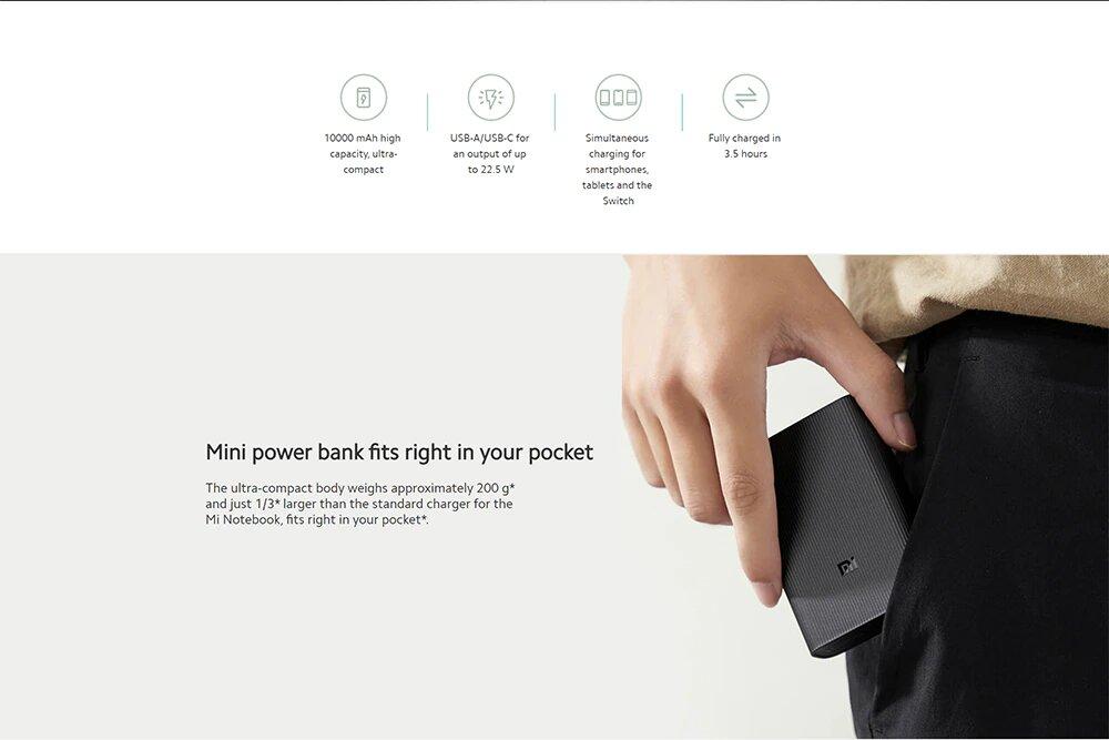 پاور بانک شیائومی مدل Mi Power Bank 3 Ultra Compact 10000